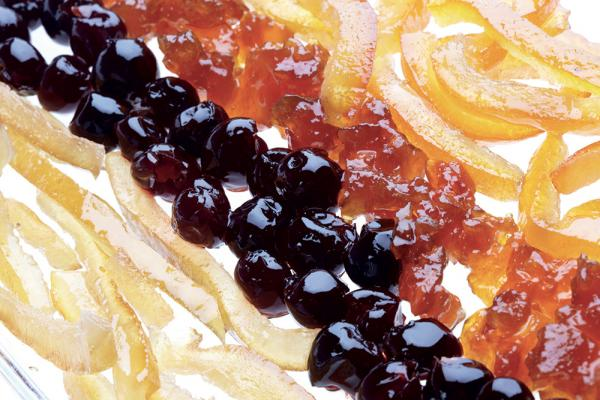 Candied fruit and raisins