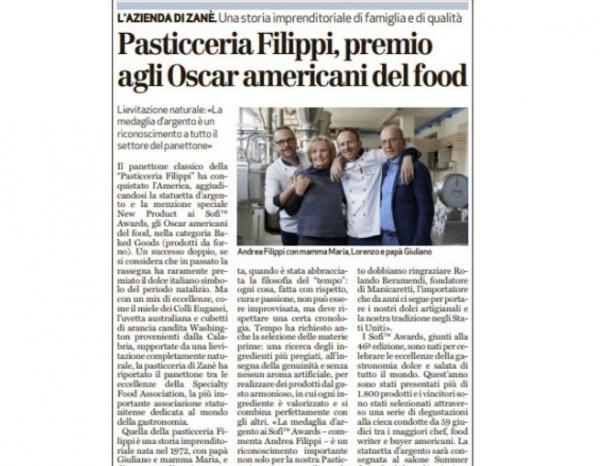 Pasticceria Filippi, premio agli Oscar del food